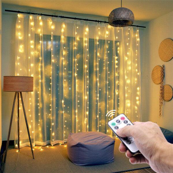Bảng giá [Hàng quốc tế | Lưu ý thời gian giao hàng dự kiến]3M X 3M 300 Đèn LED Chiếu Rèm Lễ Cưới Giáng Sinh Lãng Mạn Trang Trí Ngoài Trời Dây Quấn Cột Đèn Điều Khiển Từ Xa Đèn USB