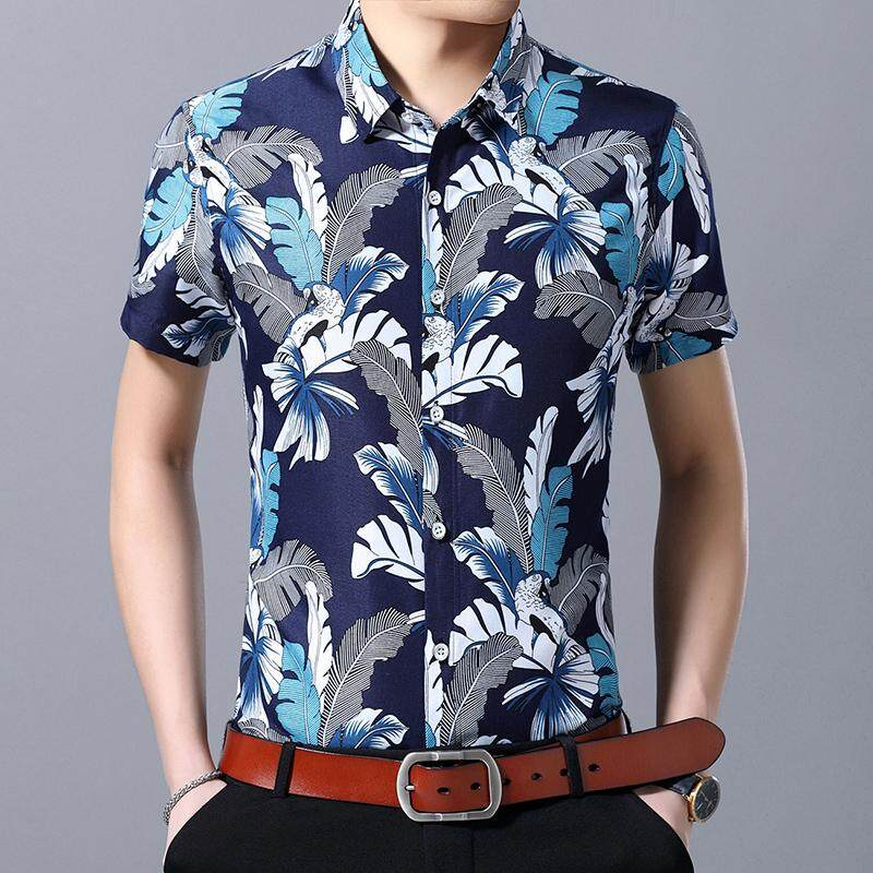 5041771521e Large size M-7XL Men s Shirt Short sleeve Flower Hawaiian Shirt Blouse Men  Beach style