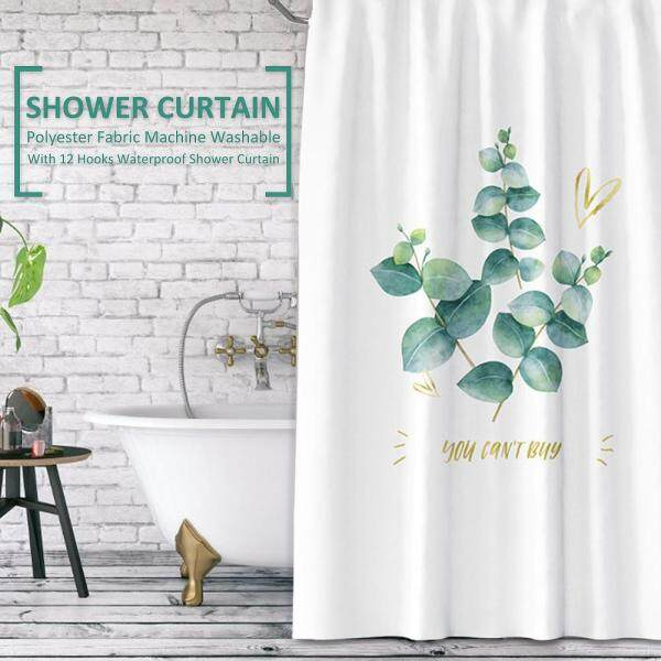 180-180cm Shower Curtain Polyester Fabric Machine Washable with 12 Hooks Waterproof Plant Curtains Bathroom Accessories