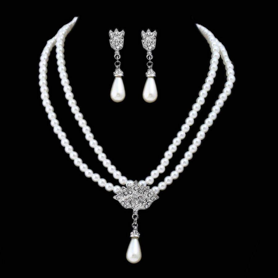 78ddad6bc Imitated Pearl Southeast Asia Bridal Jewelry Sets Full Rhinestone Statement  Wedding Earrings Necklace Sets Party Accessories