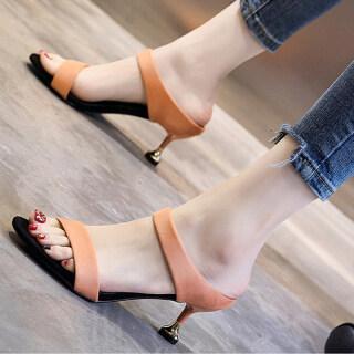 Los Boutique Giày cao gót nữ 2 quai mảnh thanh lịch màu trơn dễ phối đồ mẫu mới thời trang mùa hè - INTL thumbnail
