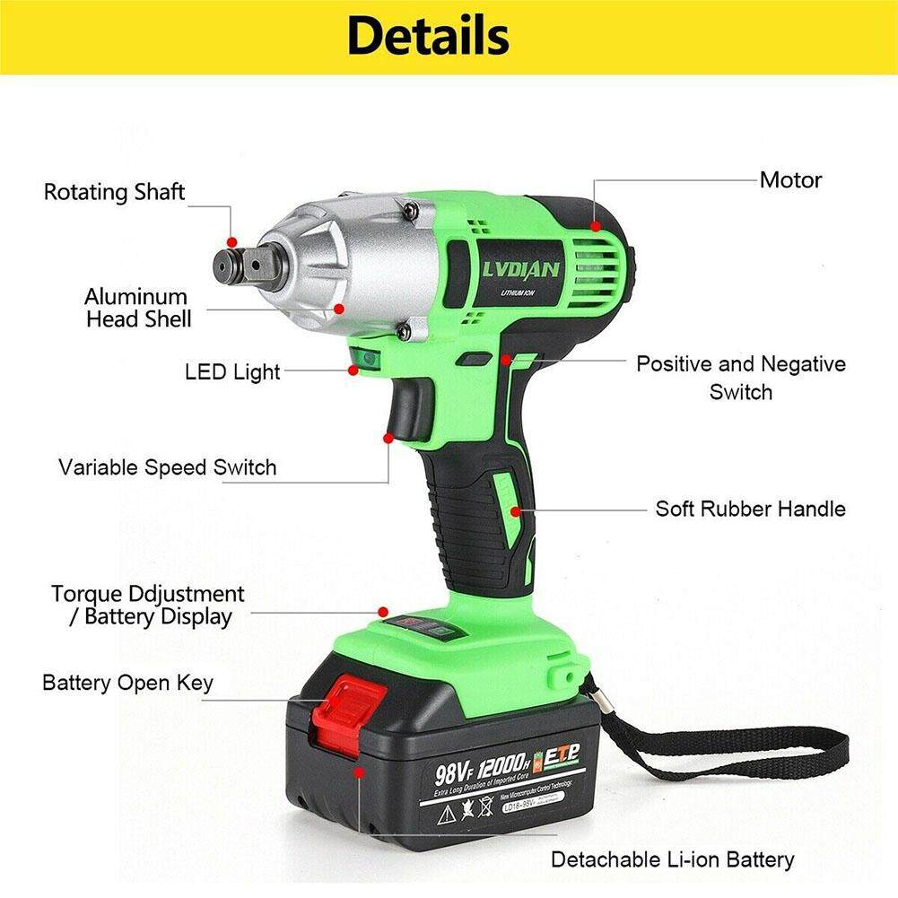 Brushless Multifunctional Punching Rechargeable Auto Repairing Waterproof Practical Cordless Impact Wrench