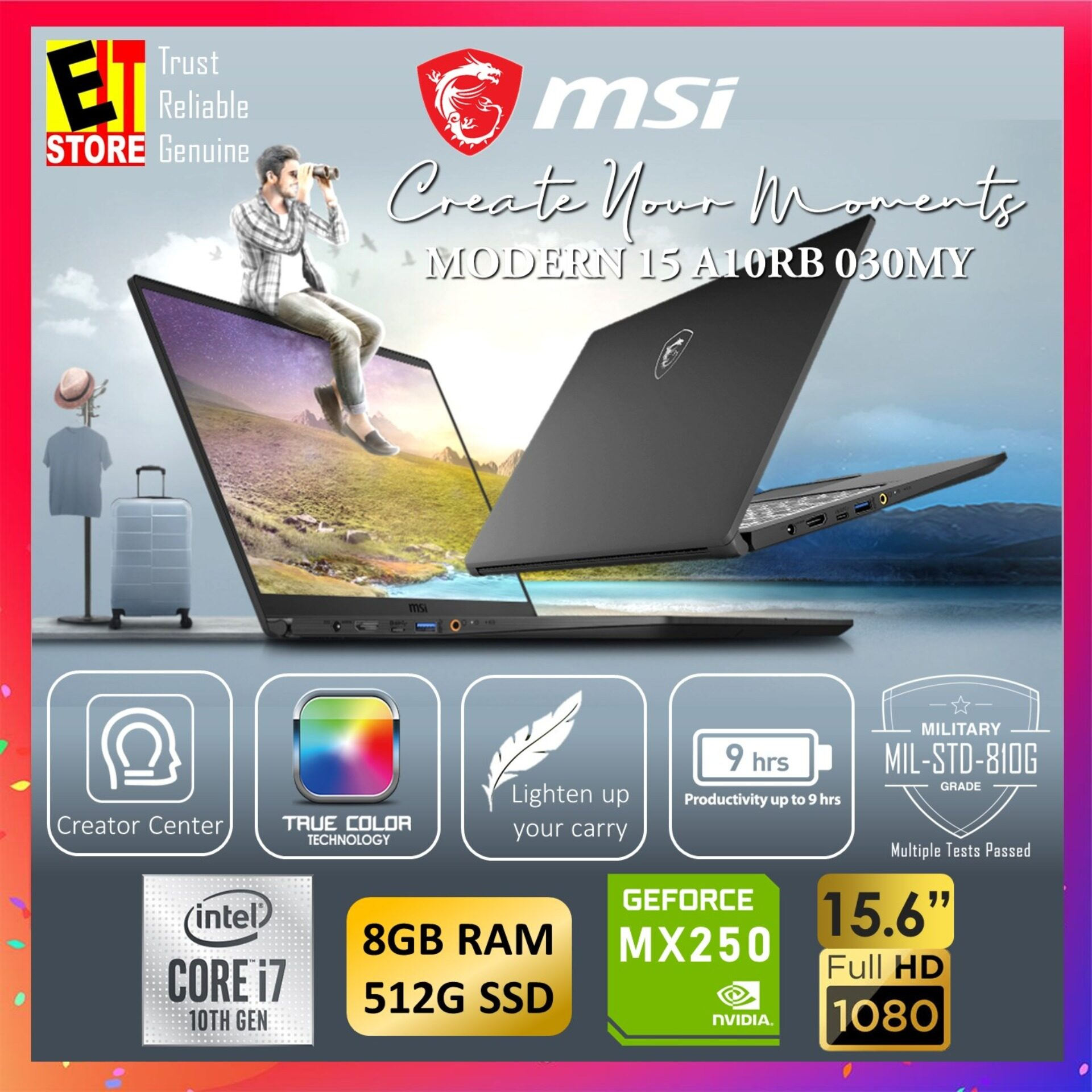 MSI MODERN 15 A10RB 030MY CREATION LAPTOP -ONYX BLACK (I7-10510U/8GB/512GB SSD/15.6 FHD/MX250 2GB/W10/1YR INTERNATIONAL) Malaysia