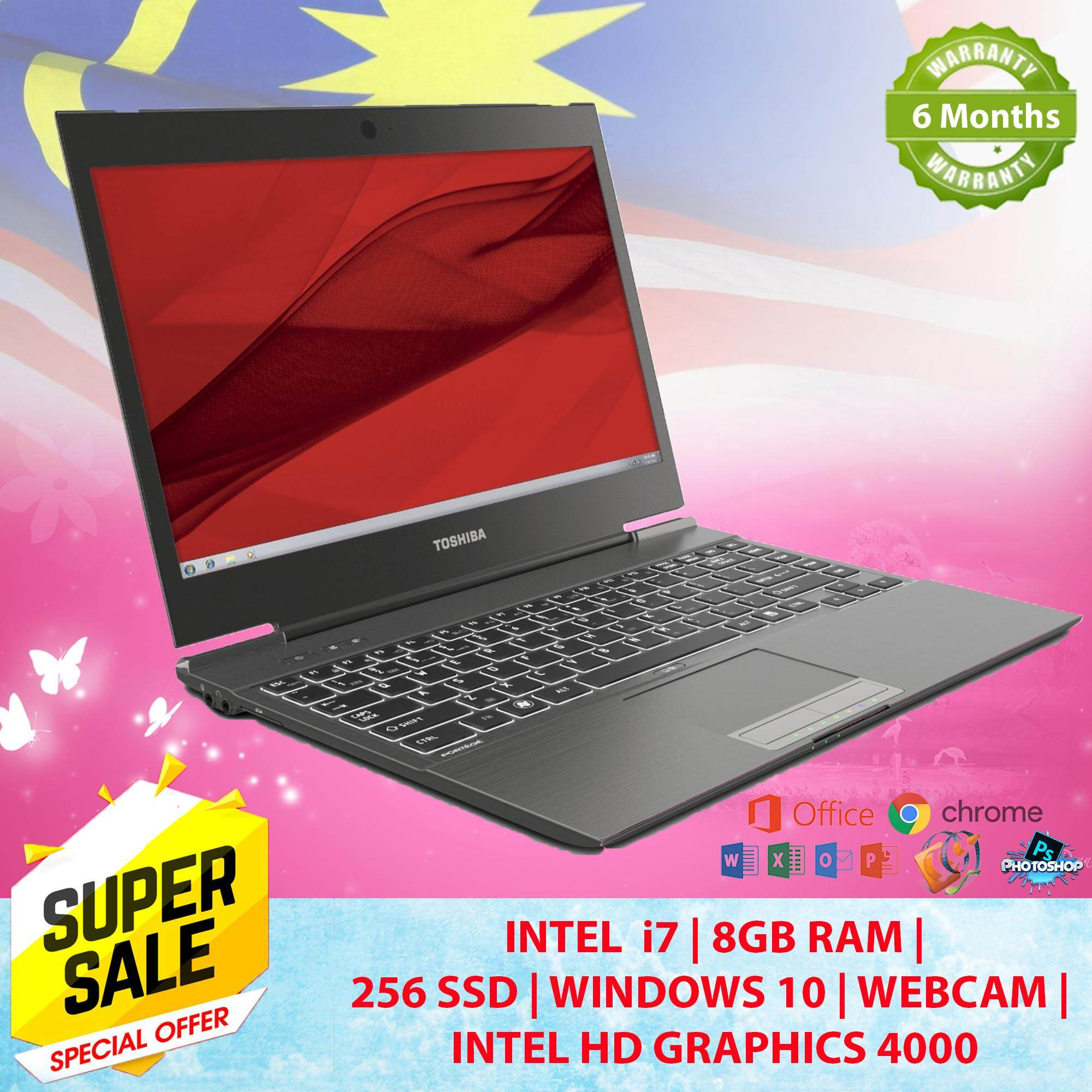 Toshiba Slim Laptop Portege Z930- CORE I7  Laptop 8GB RAM 256GB SSD Webcam , 6 Months Warranty 100% Original Free 16GB Pendrive + Bag Malaysia