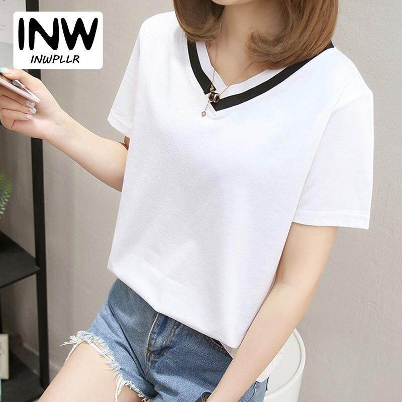765a1e52 INWPLLR M-5XL Summer Tshirt Women Short Sleeve V-neck T-shirt Fashion