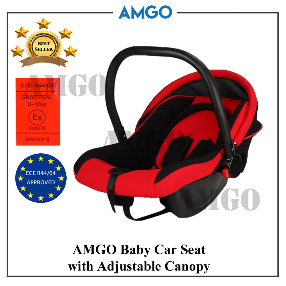 AMGO Baby Carrier Car Seat (Red Black) with Adjustable Sun Shade Canopy