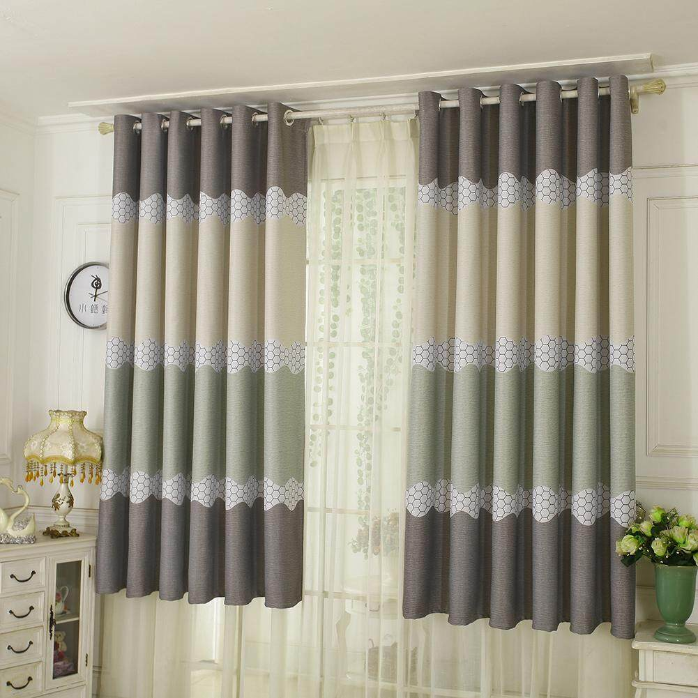 New Arrival Wave Pastoral Style Star Print Blackout Purdah Punching Curtain Shading