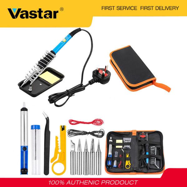 Vastar Soldering Iron Kit Electronics 15 Pieces Set 60W Adjustable Temperature Welding Tool, 5 Soldering Tips, Desoldering Pump w/ heater, Soldering Iron Stand, Tweezers, Excellent for Home