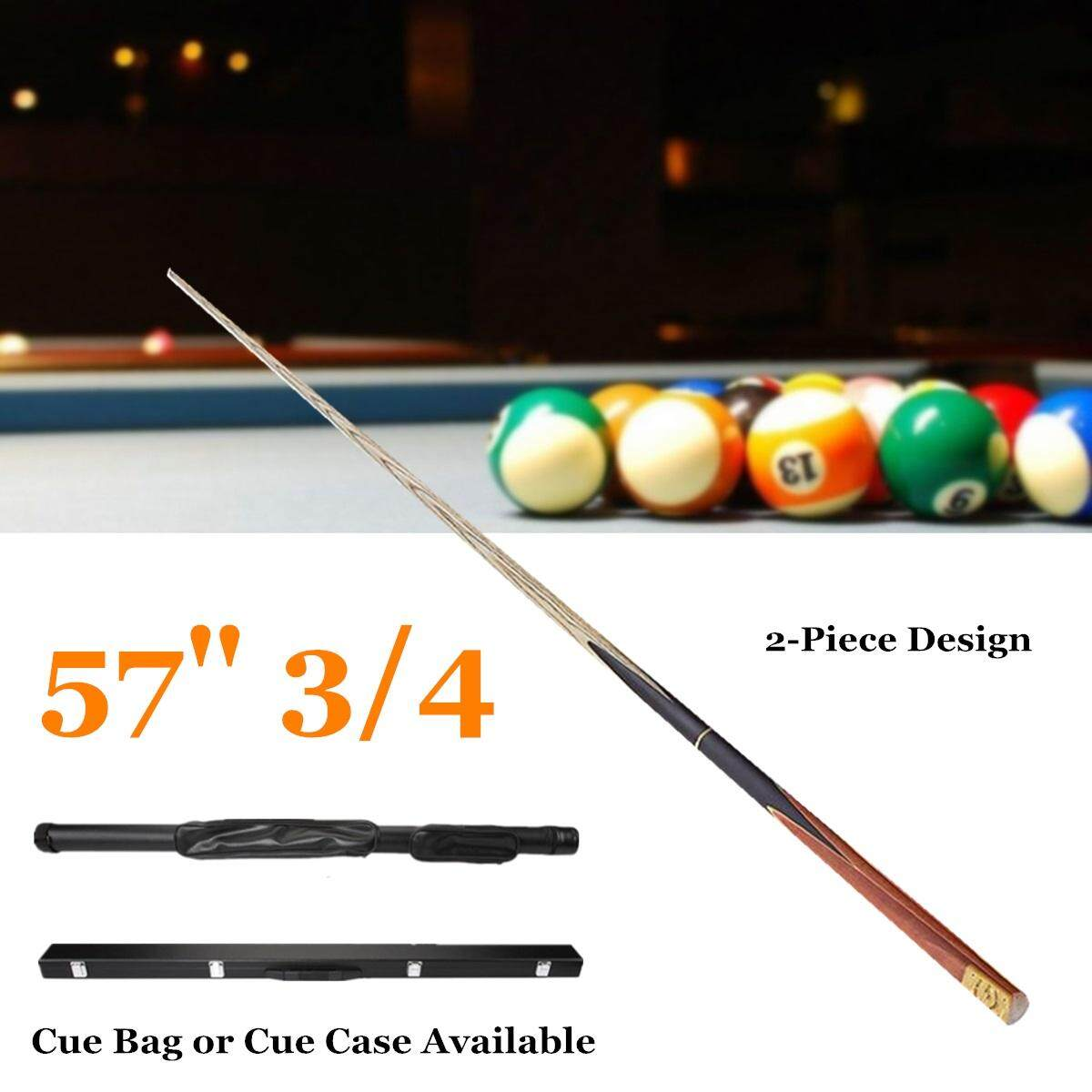 57'' 3/4 2-Piece Wood Jointed Pool Cue Stick Snooker Billiards Game Sport Bar