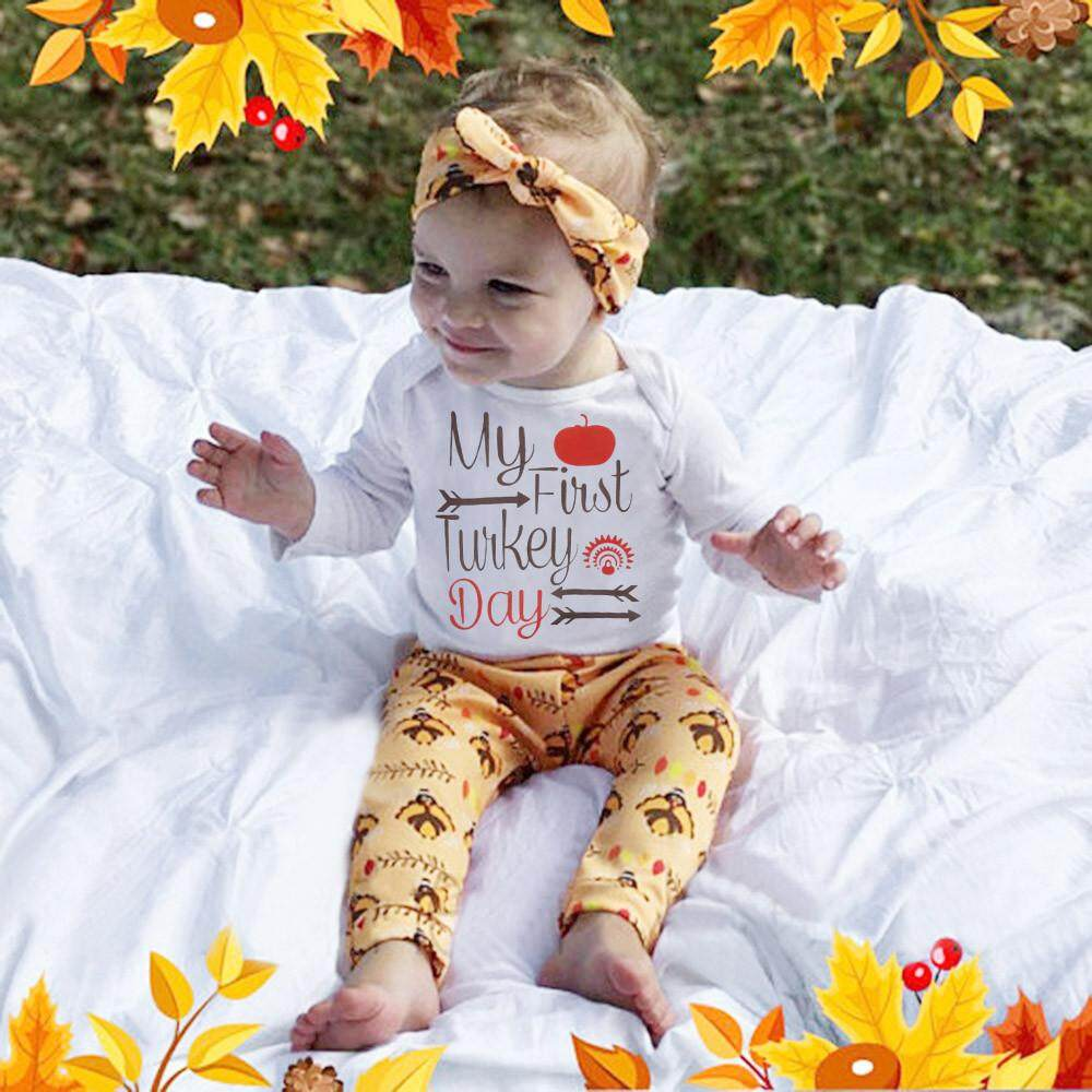 cd895ef2b54f Newborn Infant Baby Boy Girl Letter Romper Tops+Pants Thanksgiving Outfits  Set - intl