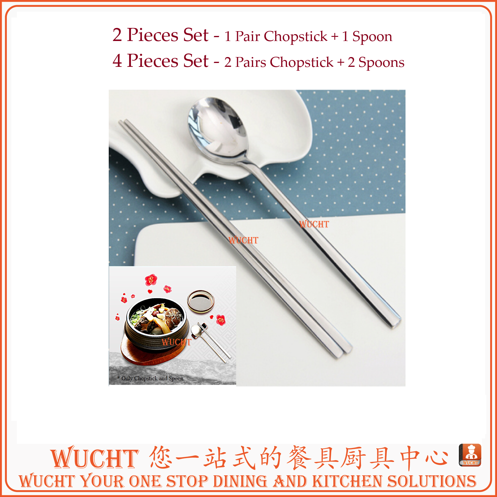 Korean Stainless Steel Chopsticks with Spoons Set 2 Pairs