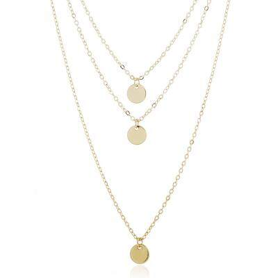 Layered Metal Disc Necklace (GOLD)