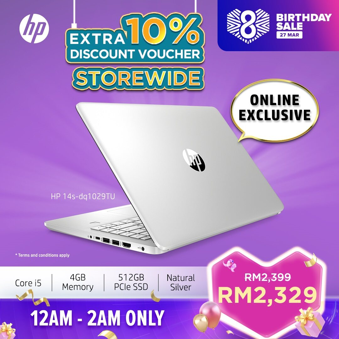 HP Laptop 14s-dq1029tu - Intel 10th Gen Processor ONLINE EXCLUSIVE [FREE Upgrade to 3 Years Warranty, Delivery & Backpack] Malaysia