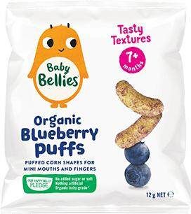 Little Bellies Baby Puffs Yummy Organic Puffed Finger Food (12g) Blueberry For 7months+ By Mam Mamm Store.