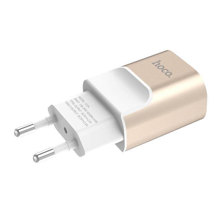 Hoco C47A 2.1A Đầu Ra Hợp Kim Dual-Cổng USB Adapter Sạc, Phích Cắm Châu Âu (Vàng) (Vàng)