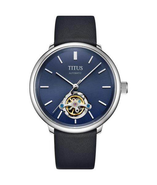Solvil et Titus W06-02993-002 Mens Mechanical Watch in Blue Dial and Leather Strap Malaysia