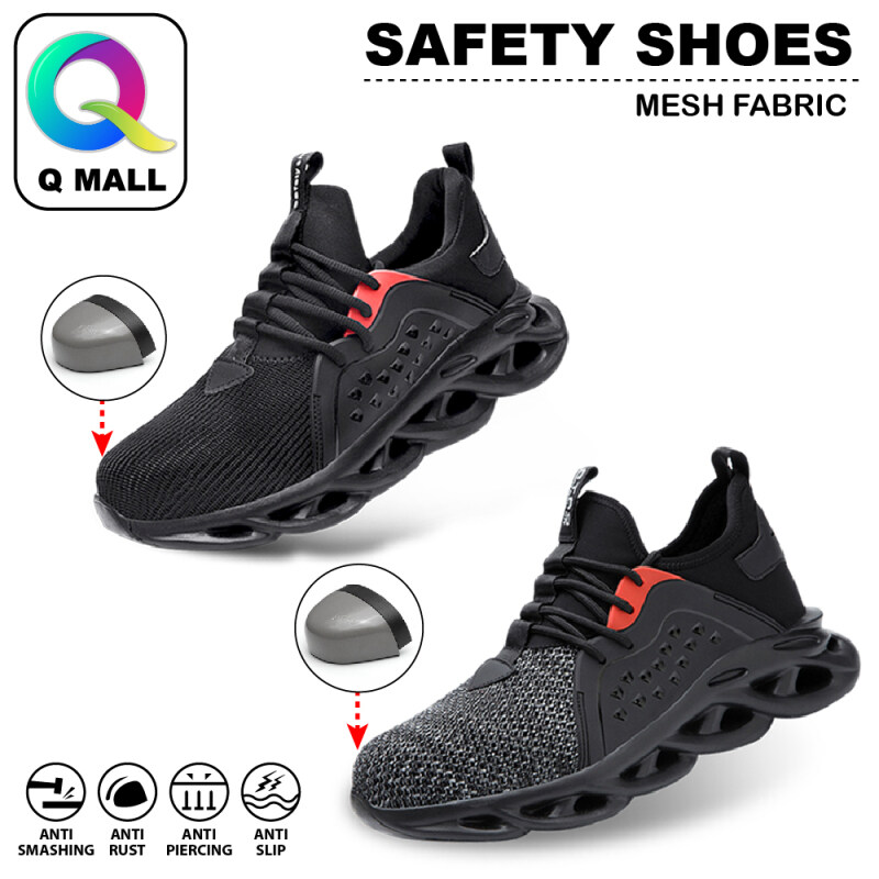 Q MALL HIGH QUALITY Safety Shoes Protective Steel Toe Cap Boots Anti-Smashing - 808 (BLACK / GREY) & 663 (BLACK / GREY / GREEN)