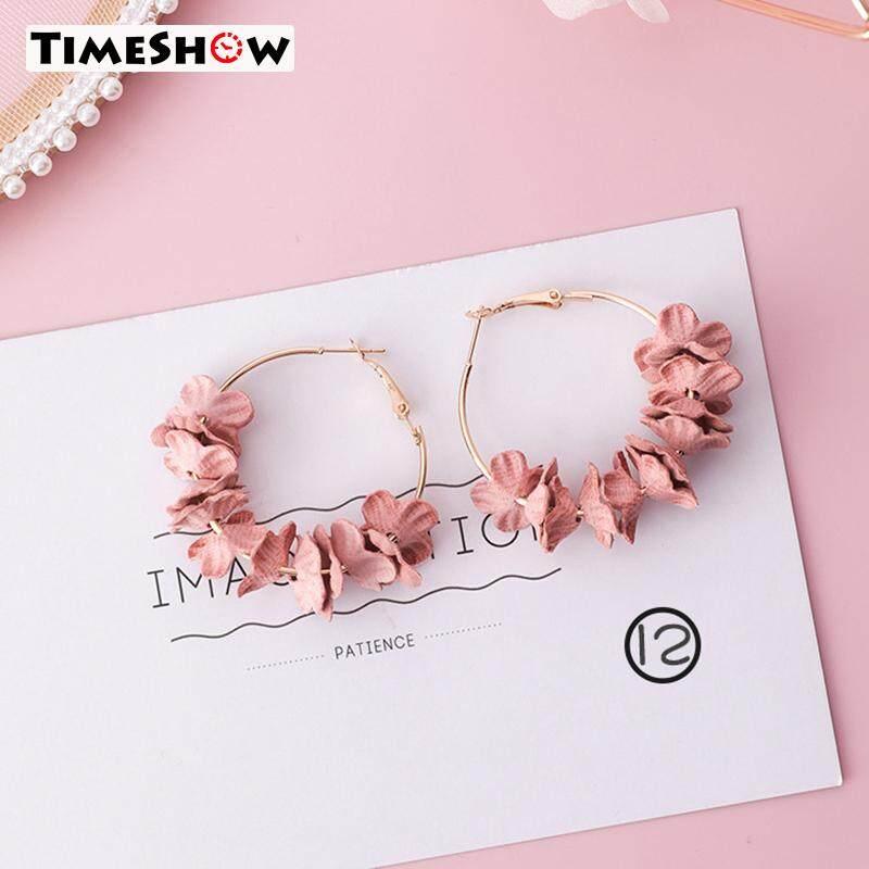 Timeshow Wanita Berwarna Merah Muda Bunga Kain Anting-anting Rumbai Wanita Aksesoris Perhiasan