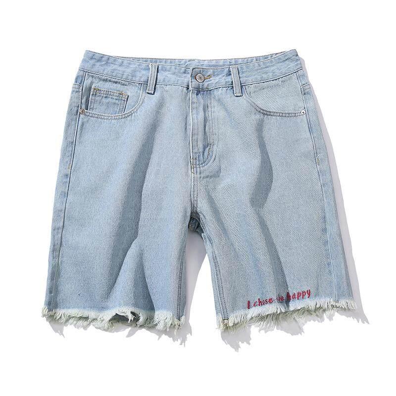 Pria Musim Panas Celana Denim Jepang Robek Dipotong Celana Jeans Pria Kasual Beech Celana Pendek Pemuda