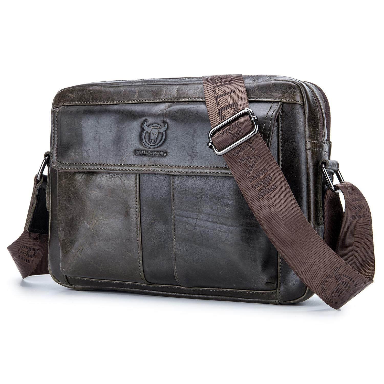 112d413119 BULLCAPTAIN Genuine Leather Men Bag Casual Business Man Shoulder Crossbody  bags Cowhide Large Capacity Travel Messenger