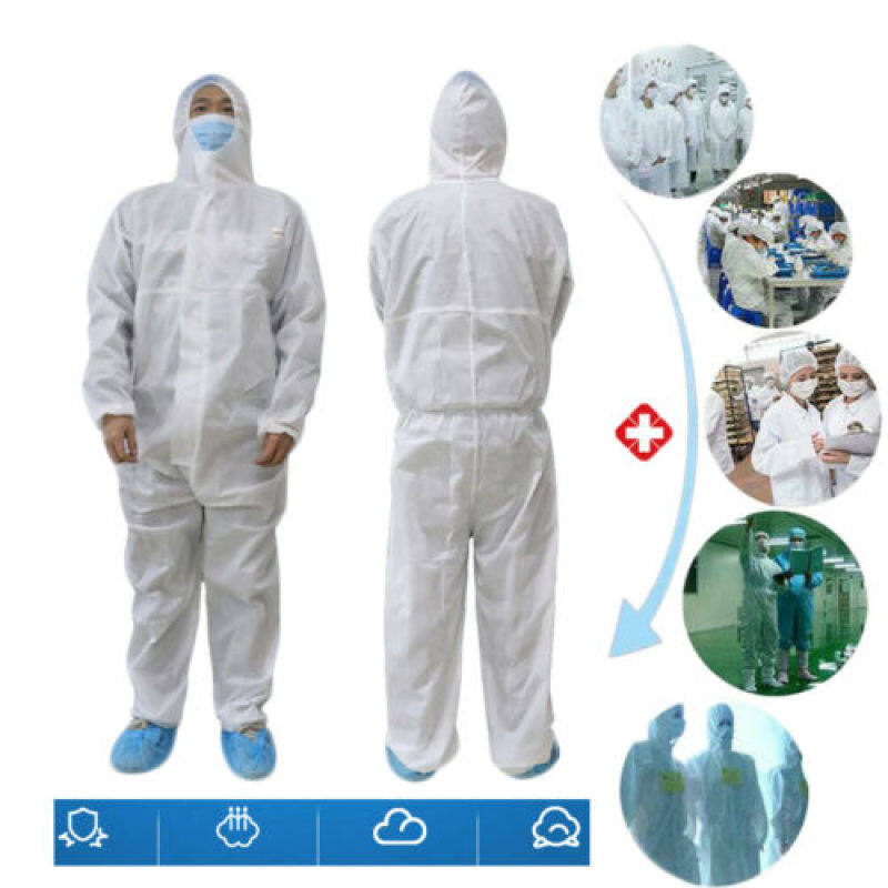 SpotWhite Coverall Hazmat Suit Protection Protective Disposable Anti-Virus Clothing Disposable Factory Hospital Safety Clothing