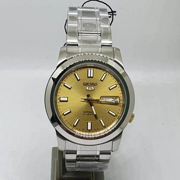 [Genuine] Seiko SNKK13K1 Stainless Steel Round Automatic Day and Date Gold Analog Watch Malaysia