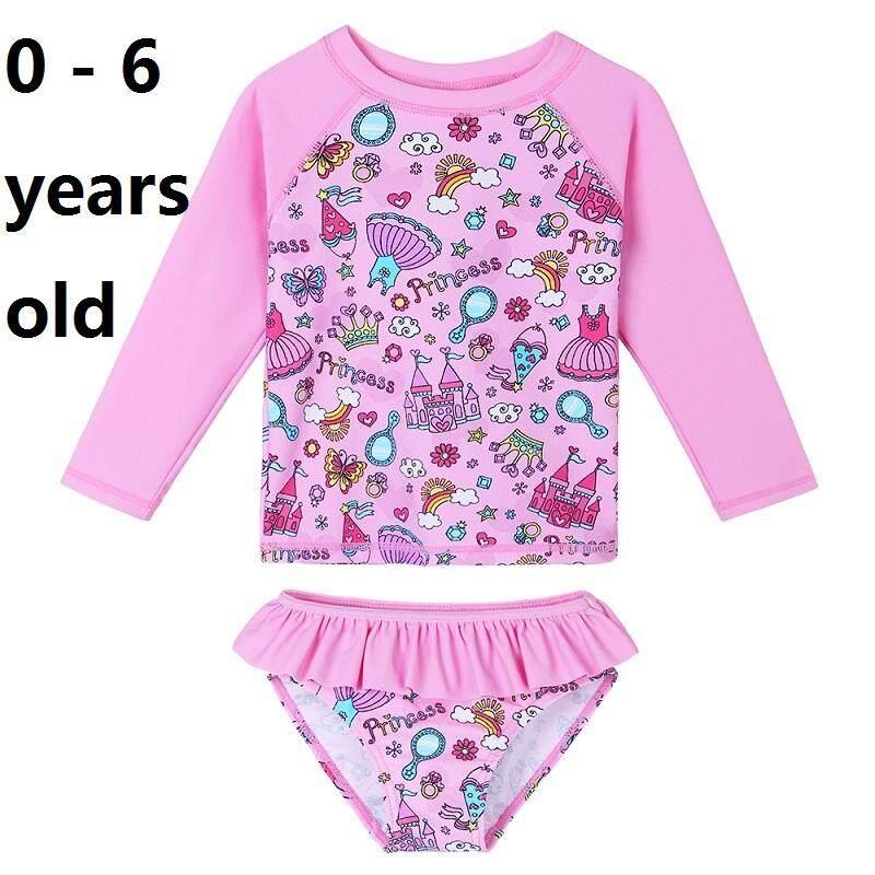 5b4e66fcfd 0-6 years old size girls fashion girls cyan swimwear Short Sleeve two-piece