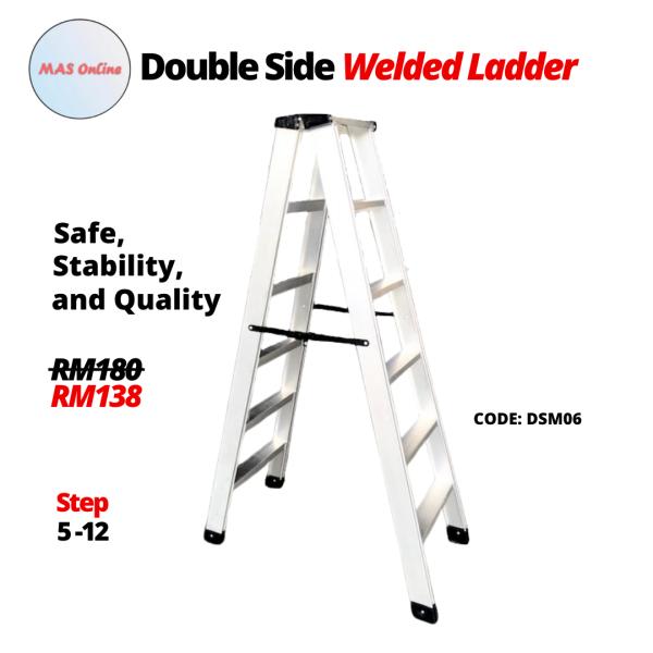 6 Steps Aluminium Heavy Duty Double Sided Welded Ladder 铝制焊接楼梯 Tangga Lipat