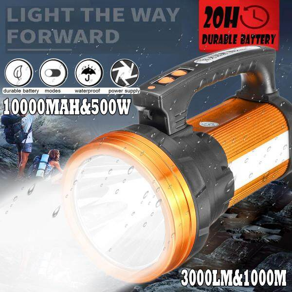 10000MAh 3000lm 500W Bright Spotlight Handheld Rechargeable LED Flashlight