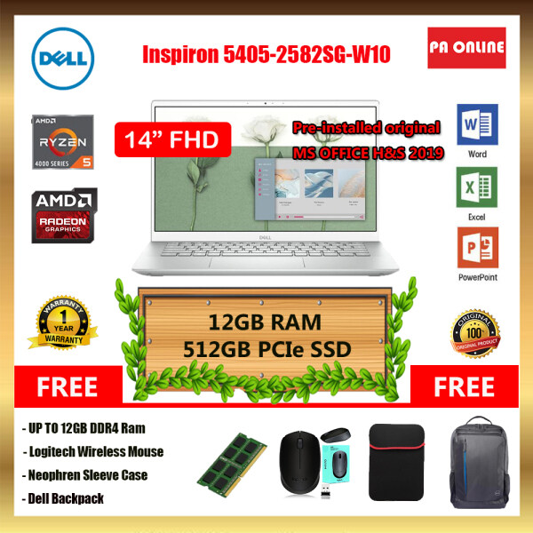 Dell inspiron 14 5405-2582SG-W10 / Ryzen 5 4500U/ 8GB -16GB RAM /256GB-512GB SSD /AMD Radeon Graphic /14 FHD LED /Win 10 /Ms office /1 Year Malaysia