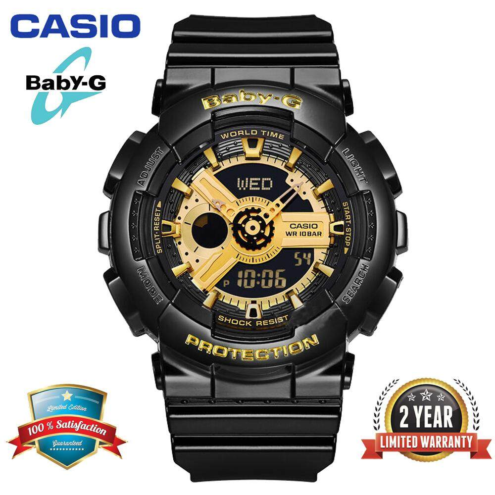 (Ready Stock)Original Casio Baby G_BA-110-1A Women Sport Digital Watch Duo W/Time 200M Water Resistant Shockproof and Waterproof World Time LED Light Girl Wist Sports Watches with 2 Year Warranty BA110/BA-110 Gold Black Malaysia