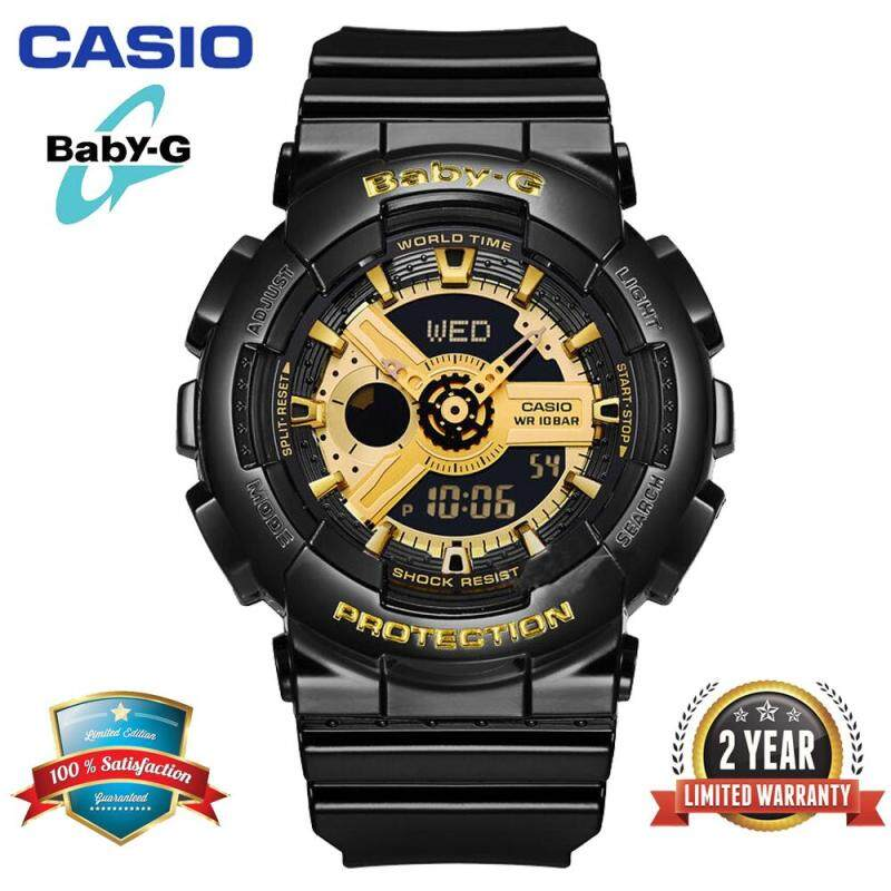 Original Baby G BA-110-1A Women Sport Watch Duo W/Time 100M Resistant Shockproof and Waterproof World Time LED Light Girl with 2 Year Warranty BA110/BA-111 Gold Black Malaysia
