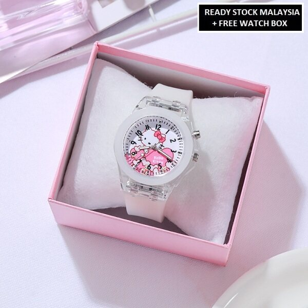 ICE Jam Tangan Kanak-Kanak Kids Girl Sport and Casual Hello Kitty Analog Silicon Strap with Light Watches + Watch Box Best Gift for Kids Jam Tangan Malaysia