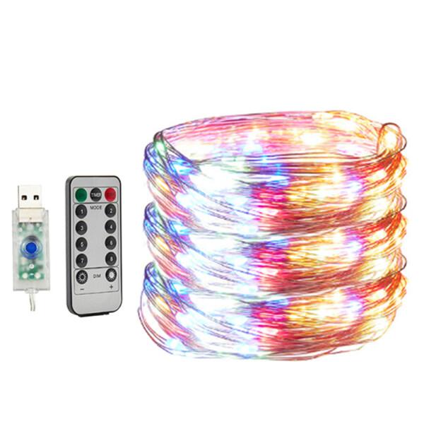 Đèn Đom Đóm 8 Chế Độ Đèn Đom Đóm Đèn Dây LED Điều Khiển Từ Xa Hẹn Giờ