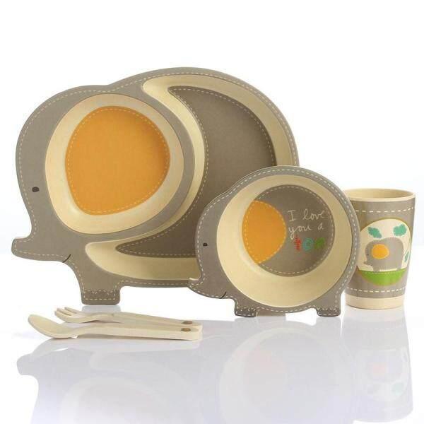 Lekoch 5pc/set Baby Dishes Bowl Cup Plates Sets Bamboo Fiber Cute Cartoon Feeding Toddler Tableware Children Dinnerware Set