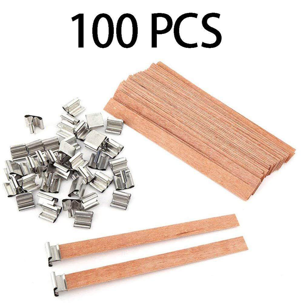 Doxiy 100pcs Natural Wood Candle Wicks Core Supplies With Sustainer DIY Soap Making for Party Stable State Safely Non-Toxic Lead Free 13*1.3cm