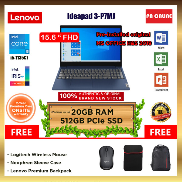 Lenovo IdeaPad 3 15ITL6 82H800P7MJ (20GB RAM) -Intel Core i5-1135G7 /8GB-20GB RAM /512GB SSD /15.6 FHD /Intel Iris Xe  /Win 10 /MS Office /2 Years Malaysia