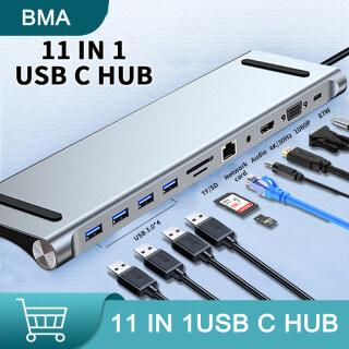 Batte Shop -- BMA Dock Mở Rộng HUB 11 Trong Một Loại C Tới 3.0 USB Tương Thích HDMI RJ45 USB HUB Cho MacBook Pro Phụ Kiện Bộ Chia USB HUB Đa Năng Loại C 11 Cổng Hub USB-C thumbnail