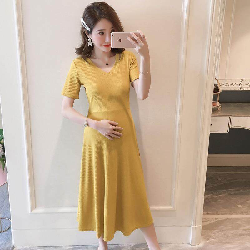 b4d63a824cb5e Pregnant Women Summer Clothing Fashion V-neck Strapless Pregnancy Dress  Stretch Slim Slimming Maternity Dresses