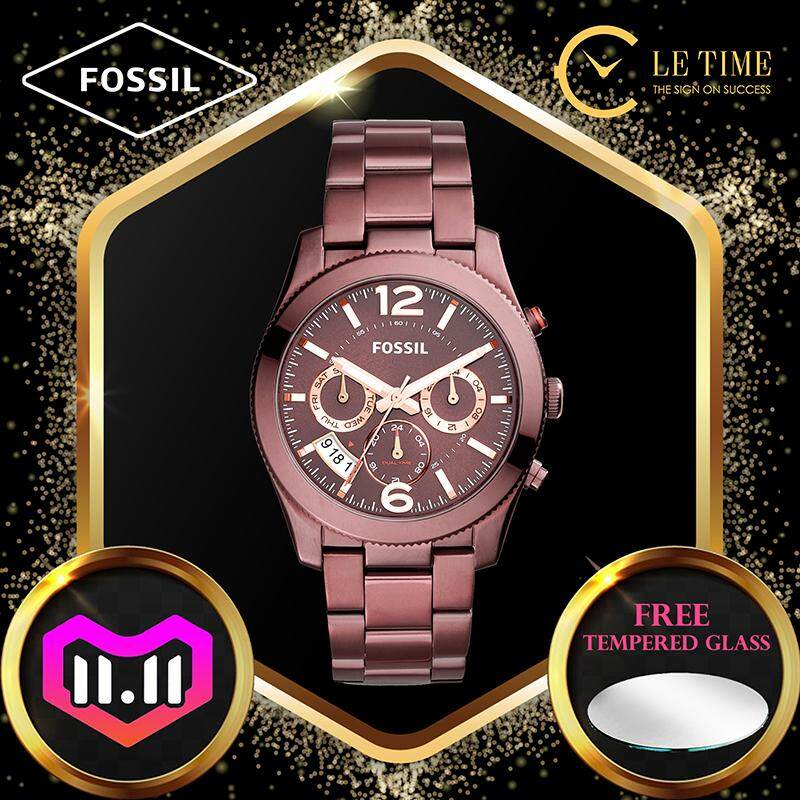 [Authentic *FREE WATCH TEMPERED GLASS*] Fossil Perfect Boyfriend Multifunction Wine Stainless Steel Women Ladies Watch Jam Tangan Wanita ES4110 Malaysia