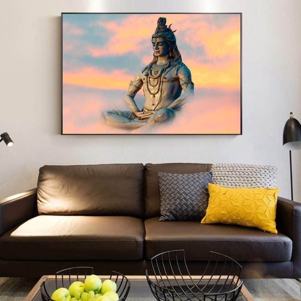 Shiva Wall Art Poster And Hindu God Portrait Canvas Painting