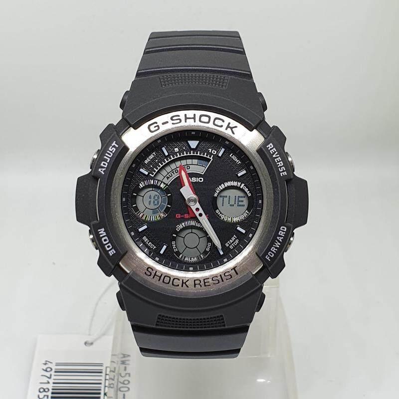 Casio G-Shock AW-590-1A Men Alarm Black Strap Water Resistant Watch AW-590-1ADR Malaysia
