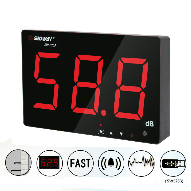 SNDWAY SW-525A Digital Sound Level Meter Noise Decibel Meter 30~130db Large Screen Display Wall Hanging Type