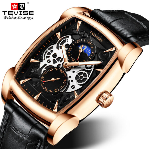 TEVISE brand quartz watch, mens rectangular frame, moon phase fashion, 24 hours, luminous leather strap, waterproof hands, wrist watch, military watch, fashion watch Malaysia