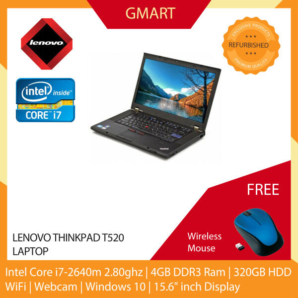 Lenovo Thinkpad T520 Laptop / 15.6 inch LCD / Intel Core i7-2640M / 4GB DDR3 Ram / 320GB HDD / WiFi / Windows 10 Pro / Webcam Malaysia