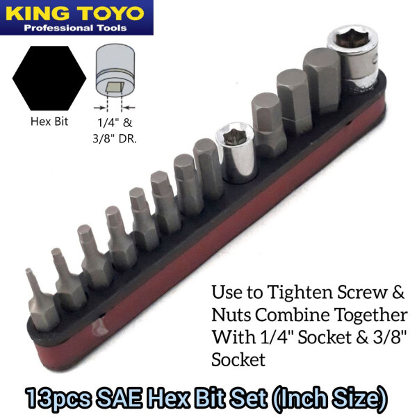 King Toyo Hexagon Hex Screw Bit Set (Inch Size) For Automotive Car And Machinery Tool