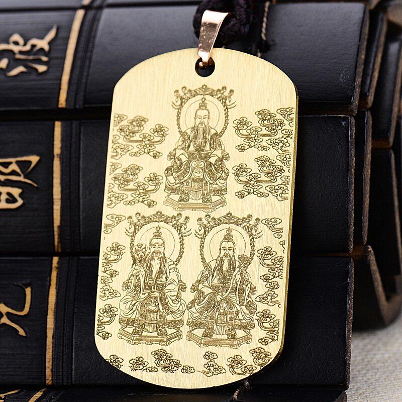 Trang Sức Đạo Giáo Đồng Thau Mặt Dây Chuyền San Khánh Tượng Tổ Tiên Như Đạo Giáo Ánh Sáng Mặt Dây Chuyền Bùa Hộ Mệnh Nam Và Dây Chuyền Nữ