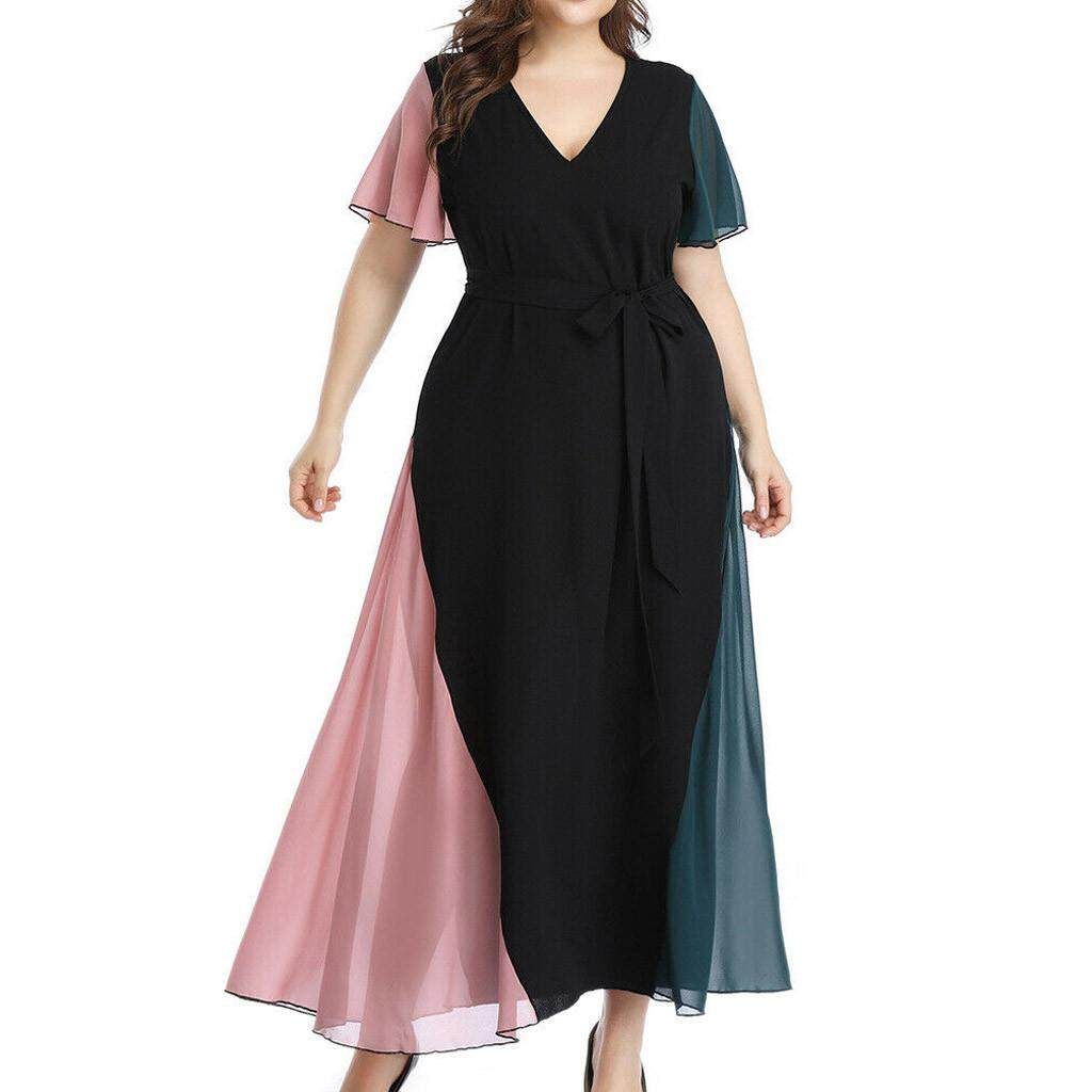 a1b4c1a7dd7 [antives]2019 summer new casual loose bohemian style large size  dressFashion Women Chiffon Plus Size V-Neck Lace up Short Sleeve Patchwork  Dress
