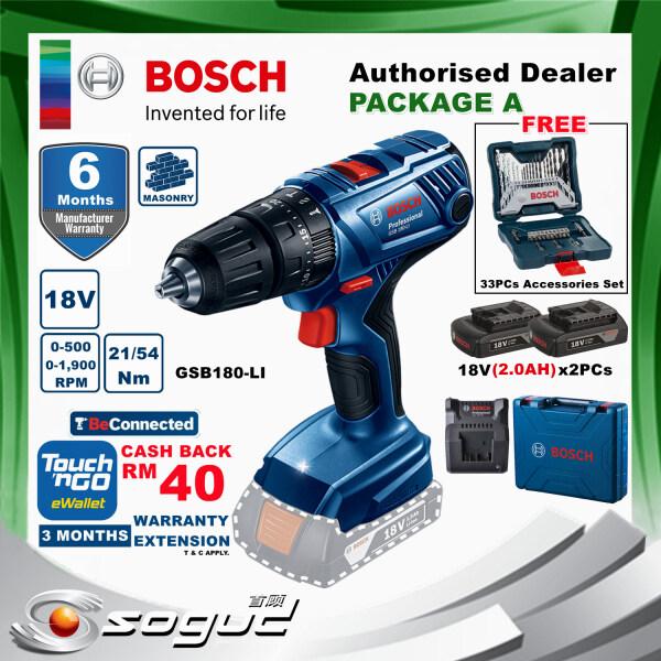 [TnG REBATE RM40]BOSCH GSB180-LI 18V PROFESSIONAL CORDLESS IMPACT DRILL/DRIVER(GSB 180 LI)