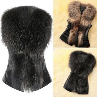 Ngắn Vest Faux Fur Vest, Cổ Áo LÔNG CÁO Giả Pu Vest, Của Phụ Nữ Quần Áo thumbnail